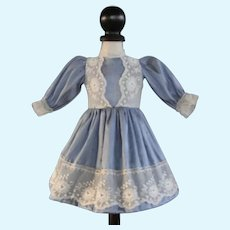 """Blue silk dress for 13"""" doll - Rosette Size"""