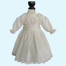 """White cotton dress for 15"""" doll"""