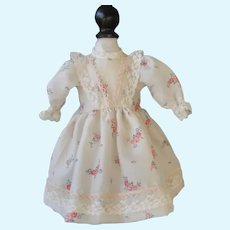 """White silk dress with flowers  for 15"""" doll"""