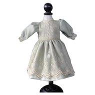 "Green silk dress for 15"" doll"