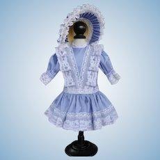 "Blue silk dress + hat for 15"" doll"