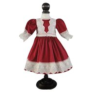 "Burgundy silk dress for 15"" doll"
