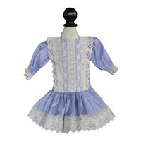 "Blue silk dress for 15"" doll"