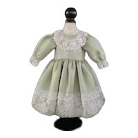 "Green silk dress for 16.5"" doll"