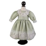 "Green silk dress for 16.5"" doll"