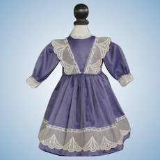 "Purple French silk dress for 16.5"" doll."