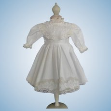 "White cotton dress for 17.5"" doll"