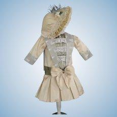 "Beige French silk dress for 17.5"" doll. Low-waist"