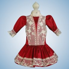 """Red silk dress for 17,5"""" doll"""
