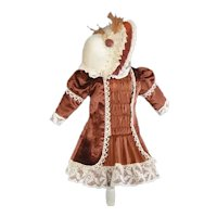 """Brown silk dress and jacket for 17.5"""" doll."""