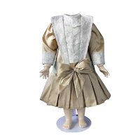 "Beige silk dress for 19"" doll - Low waist"