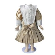 "Beige silk dress for 19"" doll - Low waist"