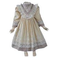 """Beige silk dress for 19"""" doll - High waist"""