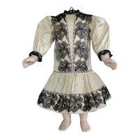 "Beige silk dress for 22"" doll - Low waist"