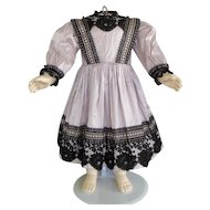"Mauve silk dress for 22"" doll - High waist"