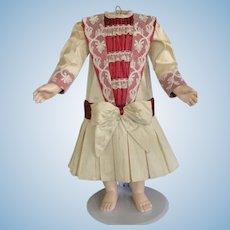 "Beige and burgundy silk dress for 21"" doll - Low waist"
