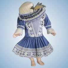 "Blue silk dress for 22"" doll + Hat - Low-waist"
