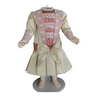 """Beige and pink silk dress for 21"""" doll - Low waist"""