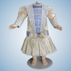 """Beige and blue and beige silk dress for 21"""" doll - Low waist"""
