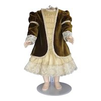 "Beige silk dress + velvet jacket for 21.5"" doll"
