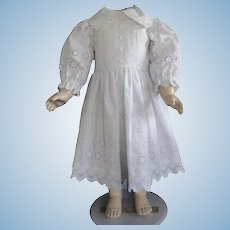 """White cotton dress for 25"""" doll"""