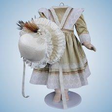 "Beige silk dress for 25"" doll"
