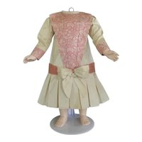 """Beige and pink silk dress for 25"""" doll - Low waist"""