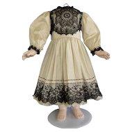 """Beige silk dress for 25"""" doll - High waist"""