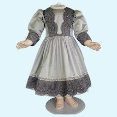 """Grey silk dress for 25"""" doll - High Waist dress"""