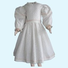 """White cotton dress for 27"""" doll"""