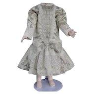 "Beige silk dress for 27"" doll"