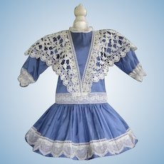 "Blue silk dress for 27"" doll"