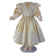 "Beige silk dress for 29"" dolls"