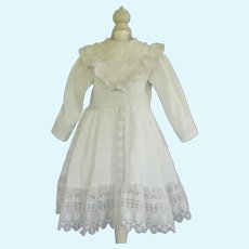 """White cotton dress for 29"""" doll"""