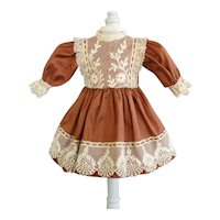 "Rust silk dress for for 11"" doll - High waist"