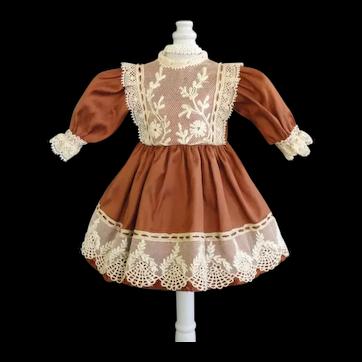 """Rust silk dress for for 11"""" doll - High waist"""