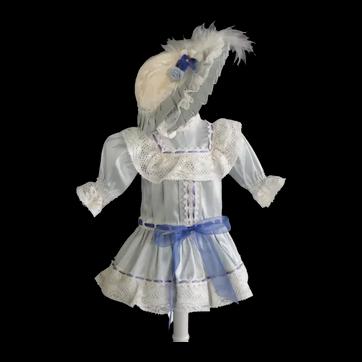 """Light blue silk dress for 11"""" doll - Low waist"""