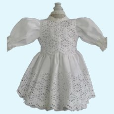"White cotton dress for 11"" doll - Bleuette Size"