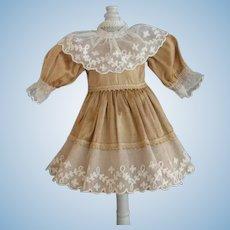 """Beige silk dress for 11"""" doll - High waist"""