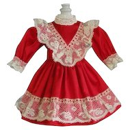 "Red silk dress for for 11"" doll - High waist"