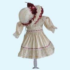 "Beige silk dress for 11"" doll + hat - High waist"