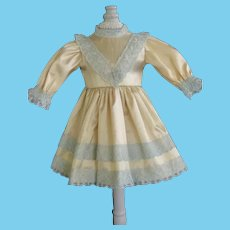 "Beige silk dress for for 11"" doll - High waist"