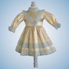 """Beige silk dress for for 11"""" doll - High waist"""