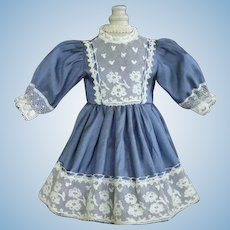 "Blue silk dress for for 11"" doll - High waist"