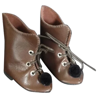"""Leather doll shoes - length 2.36"""""""