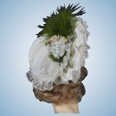 "Hat for 8"" (18 cm) HC dolls - Laces and silk - Green"