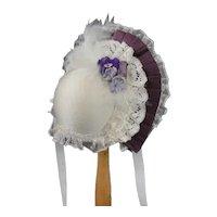 "Plum Hat for dolls size 3/4 - 8.67"" - 9.45"" HC"