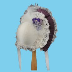 "Plum Hat for dolls size 3/4 - 8.67"" - 9.45"" HC"