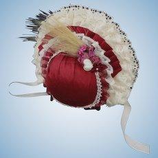 "Burgundy Hat for dolls size 3/4 - 8.67"" - 9.45"" HC"