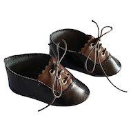 Leather doll shoes - length  7.8 cm - 2 colors
